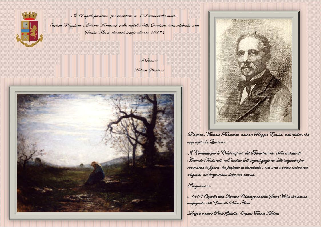 La Questura di Reggio Emilia ricorda l\'artista Antonio Fontanesi