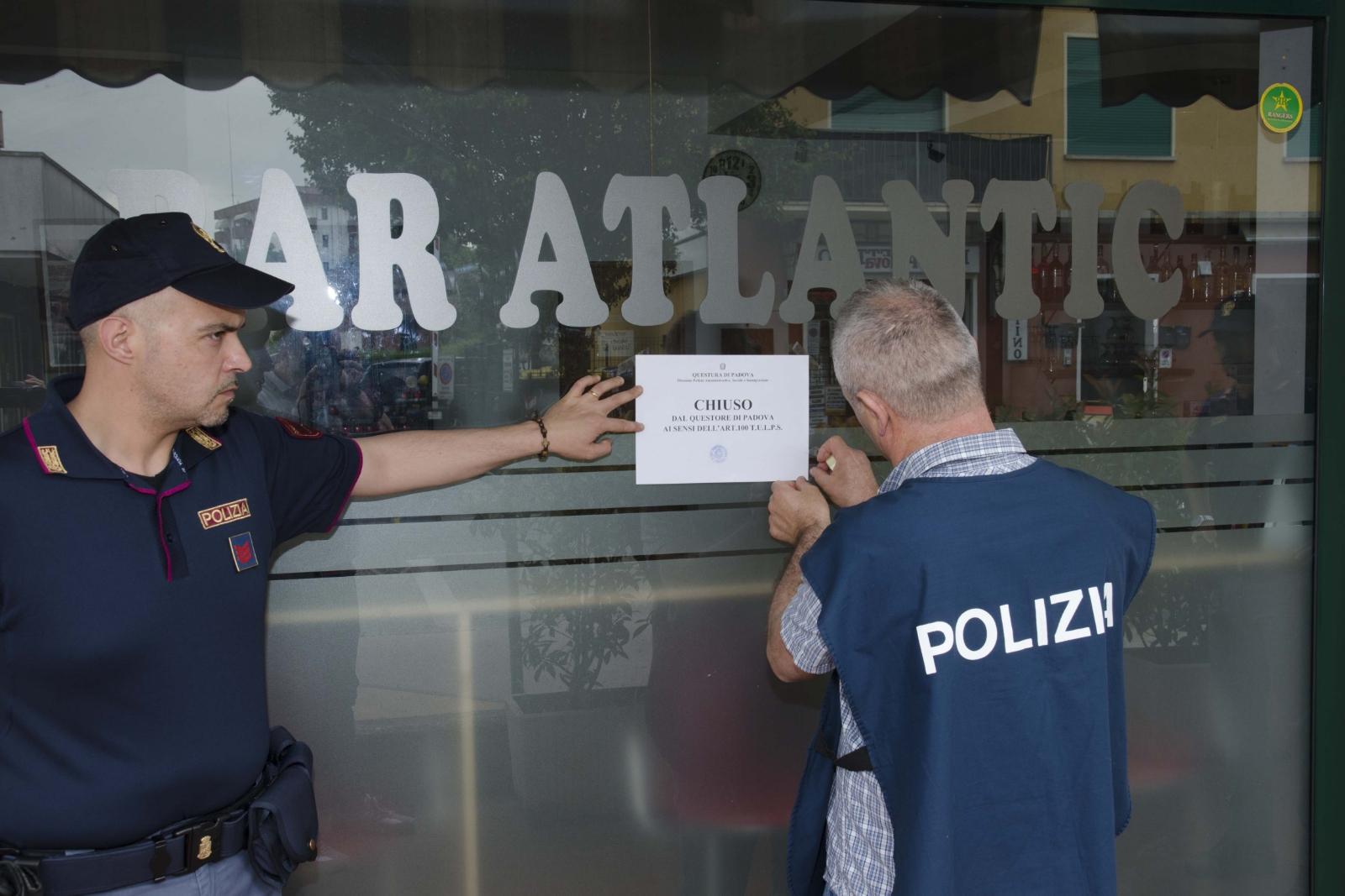 """Il Questore di Padova chiude per 15 giorni il """"Bar Atlantic"""" in via ..."""