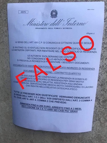 Sicurezza: falso volantino intestato al Ministero dell'Interno