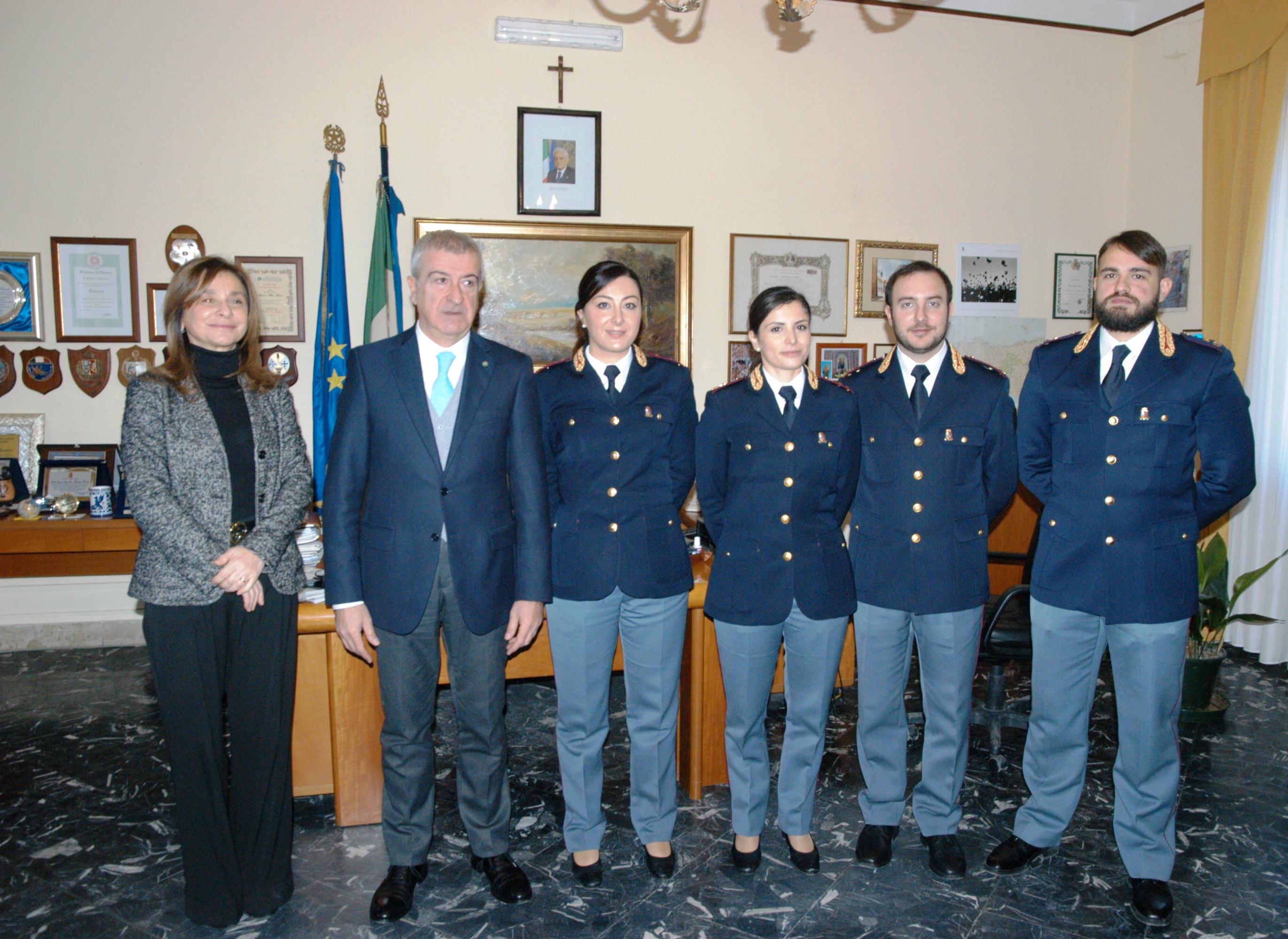 Presentati in questura i nuovi commissari capo della for Questura di polizia