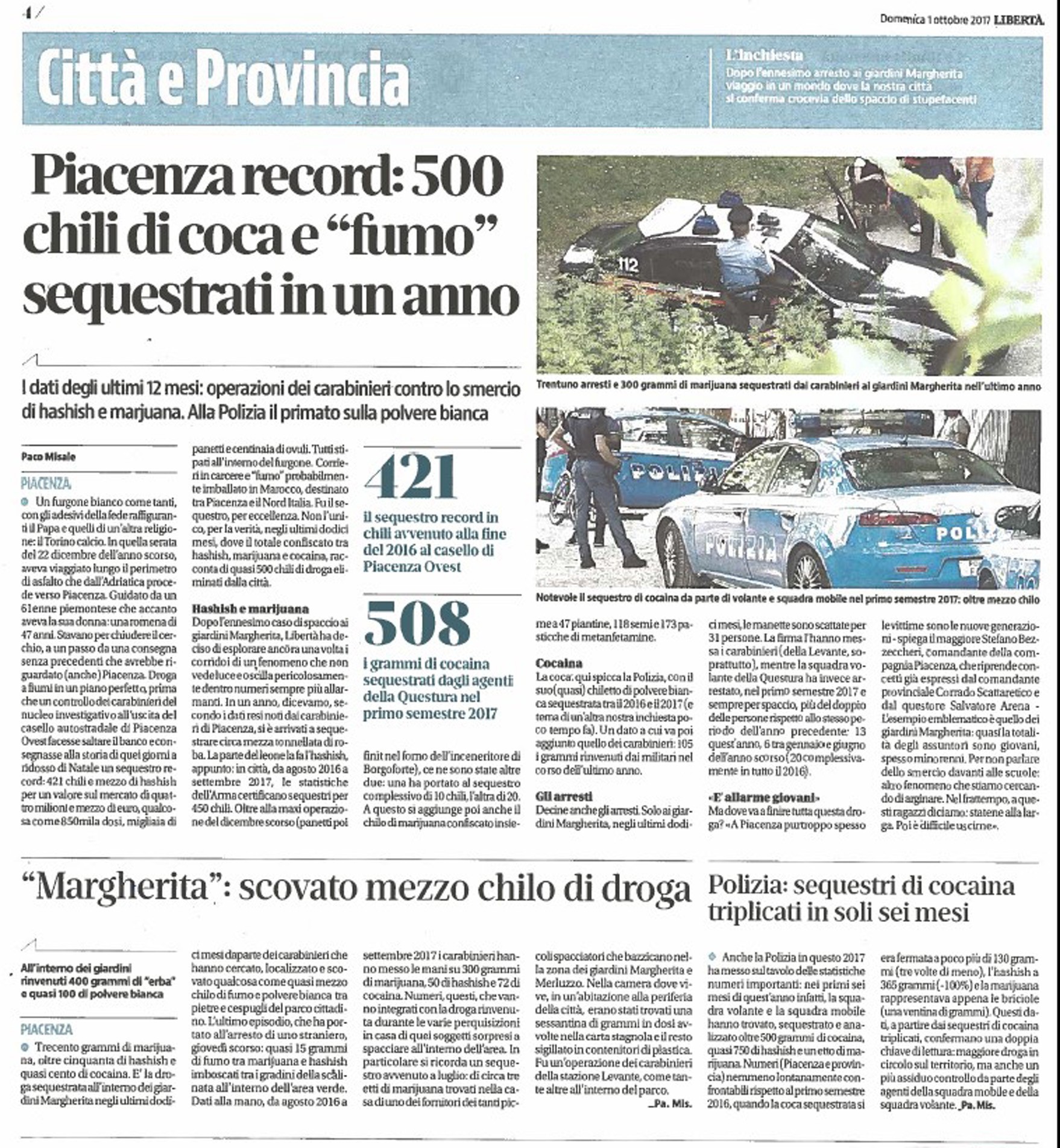 """Piacenza record: 500 chili di coca e ""fumo"" sequestrati in un anno"""